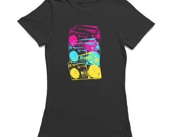 Triple Multicolor Old Radio Vertical Middle Graphic Women's T-shirt