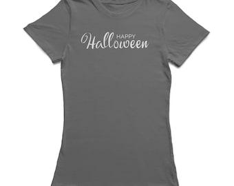 Happy Halloween Cute Classic Mixed Typo Women's Charcoal T-shirt