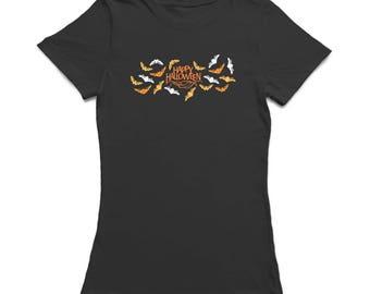 Happy Halloween Scary Bats Women's Black T-shirt