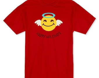 Happy Holidays Christmas Angel  Men's Red T-shirt