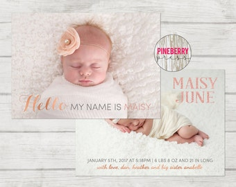 Girl Birth Announcement Template , Photographer Birth Announcement, Rose Gold Birth Announcement, Instant Download