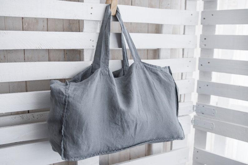 Natural Linen Bag  Eco-friendly fabric  Tote bag  Large beach bag  Laptop bag  Ready To Ship!