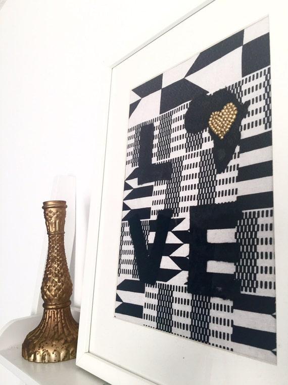 Kente Cloth Velvet & Beaded Love Africa Framed | Etsy