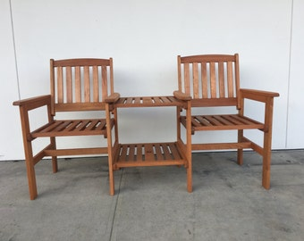 Harmony Patio Set Wooden Slat Table Adjoining Chairs Natural Wood Pool  Porch Outdoor Backyard Chairs
