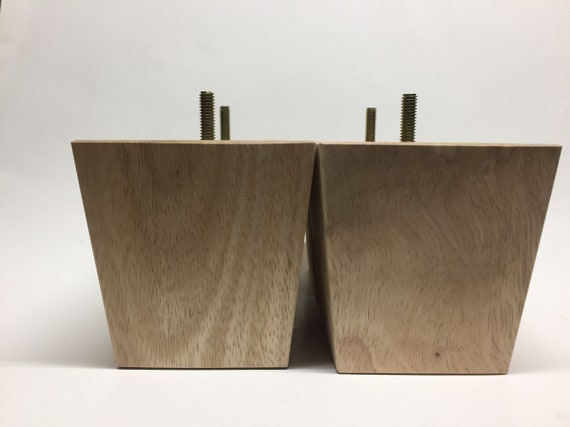 """Set of 4 Unfinished Tapered Wood Legs 6/"""" Tall x 3/"""" Square with 5//16/"""" Hanger Bolt"""