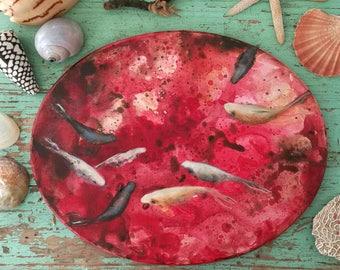 Arte Ovale / Oval Art / Sea art / Ovale rosso con pesci bianchi / ideal as a present