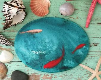Sea Art / quadro Ovale con pesci rossi / goldfishes on oval canvas / pintura con peces rojos / Arte marina / arte contemporaneo