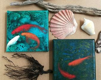 Mini cuadritos de peces / Mini quadri di pesci rossi / mini goldfish paintings/  olio e acrilico su tela 10x10cm / 90 euros each/cadauno