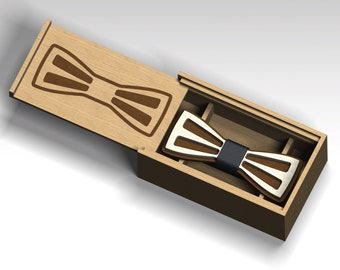 Bow tie and box.8) Laser cut files  DXF, CDR vector plans, files Instant download . 3D puzzle.