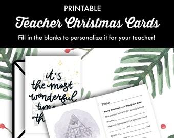 Christmas Card for Teachers Printable, Teacher Christmas Card, Printable Card for Teacher, Fill in the blank Card, Holiday Card for Teacher