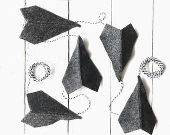 Charcoal Gray Felt Paper Airplane Garland | Airplane Party Decor | Gray Decor | Garland for Boys | Boy Room Decor | Boy Nursery Decor
