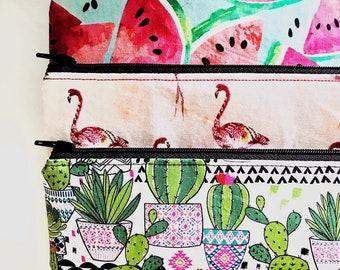 Pencil pouch | Zip Pouch | Zipper Pouch | Gift for girls | School | Cactus Print | Flamingo | Watermelon | Summer Print