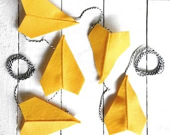Sunshine Yellow Felt Paper Airplane Garland | Airplane Party Decor | Garland for Boys | Boy Room Decor | Boy Nursery Decor
