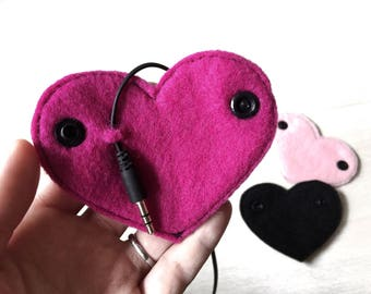 Set of 3 Cord Organizers | Headphone Organizer | Cord Taco | Hearts | Gift for Girls