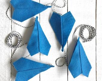 Royal Blue Felt Paper Airplane Garland | Airplane Party Decor | Garland for Boys | Boy Room Decor | Boy Nursery Decor