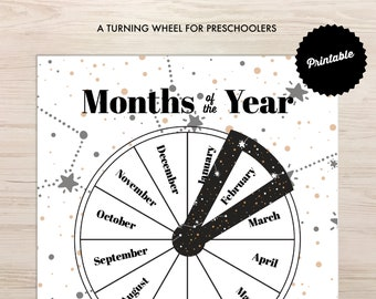 Months of the Year Wheel Printable | Instant Download | Preschool Learning