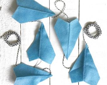 Sky Blue Felt Paper Airplane Garland | Airplane Party Decor | Garland for Boys | Boy Room Decor | Boy Nursery Decor