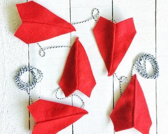 Felt Paper Airplane Garland | Airplane Party Decoration | Garland for Boys | Boy Room Decor | Boy Nursery Decor | Boy Baby Shower