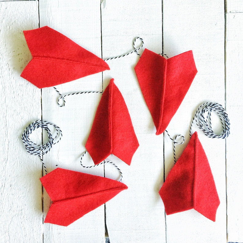 Felt Paper Airplane Garland  Airplane Party Decoration  image 0