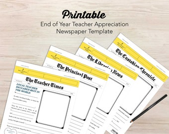 Newspaper Template for End-of-Year Teacher Appreciation Card