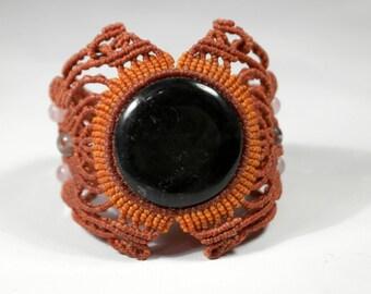 Macrame bracelet dark jade, macrame jewelry handmade