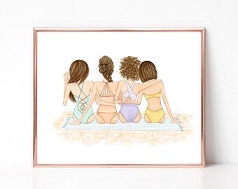 Customizable BFF beach fun, weekend summer day, best friends, girlfriends, fashion illustration print, art print, sketch, croquis,