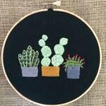 Embroidery  hoop, cactus, cacti, succulents, plants in pots, hand embroideried, embroidery hoop, wallart, homedecor, fiberart, desert
