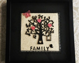 Personalised 3D family tree box frame
