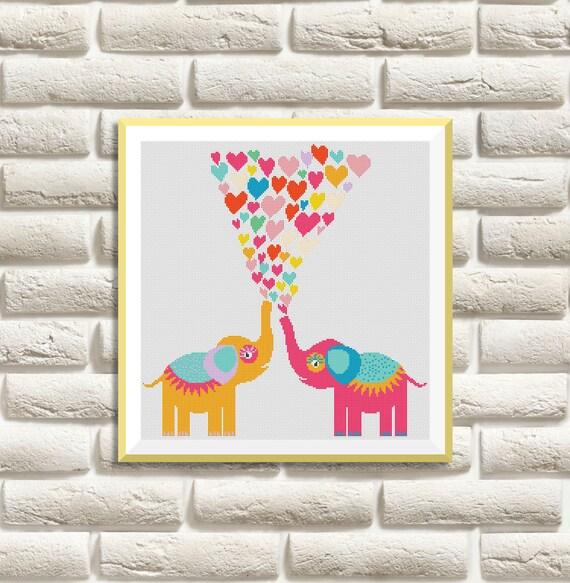 BOGO GRATIS Los elefantes de punto de Cruz Patrones | Etsy