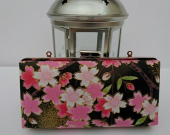 Gift for bridesmaid, best friend gift, black minaudiere, minaudiere clutch, clamshell clutch, floral clutch, metallic fabric