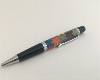 Wall Street Ballpoint Pen | Autism Puzzle | Chrome | Wooden Inlay