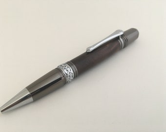 Cirque Twist Ballpoint Pen in Figured Walnut with Gunmetal & Chrome Components