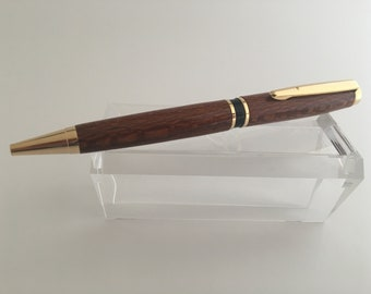 Hart Ballpoint Pen | Leopard Wood | Gold Finish | Handmade Twist Pen