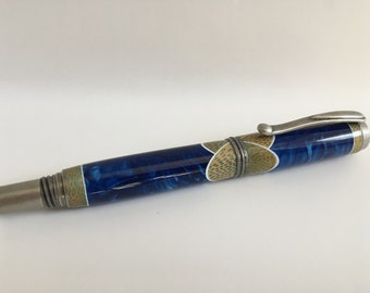 Jr George Rollerball Pen with Juma Blue Resin and Bamboo