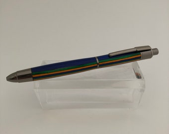 Script Ballpoint Click Pen with Spectraply, Green, Blue, Orange, Gun Metal Finish