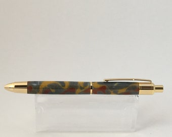 Script Ballpoint Click Pen with Liquid Metal Acrylic, Gray, Gold, Red Copper, Gold Finish