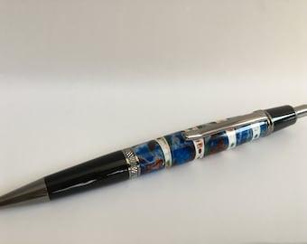 Wall Street II Ballpoint Click Pen with Shark Vertebrae in Blue, Copper, Green, White, Resin, Black Titanium