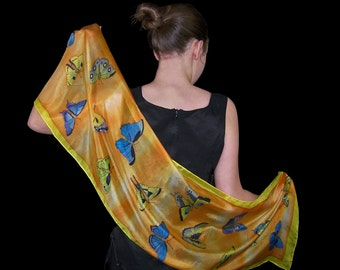 Orange hand painted silk scarf,   butterfly blue and yellow silk scarves, one of a kind gift for her, woman silk shawl , Christmas gift