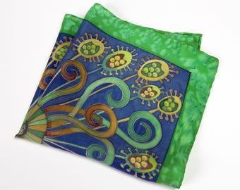 Hand painted silk  pocket square, green silk pocket square, mens silk handekrchief, OOAk gift for him, wedding pocket square, Christmas gift