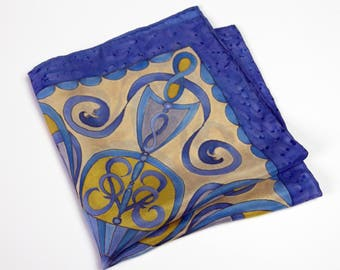 BLUE SILK pocket square Hand painted beige yellow mens handekrchief OOAk gift for him wedding pocket square