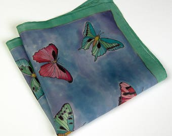 BLUE pocket square SILK Hand painted red butterflies green mens handekrchief OOAk gift for him wedding pocket square