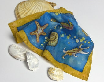 Silk hand painted pocket square, Blue silk pocket square,  Christmas gift for him, mens handkerchief,  nautical  silk hankie,