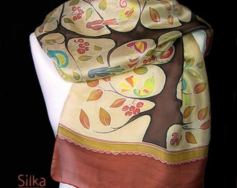 Hand painted silk scarf  brown silk scarf    Gift for her Handmade scarf Brown chocolate floral tree birds scarf boho silk scarf Silk shawl