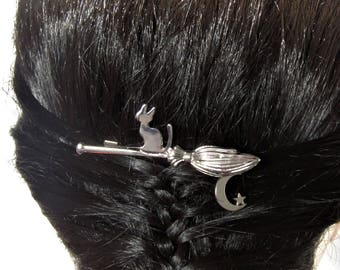 Cat on a Broom Hair Clip, Witchy Hair Clip, Halloween Hair Clip, Cat Hair Clip, Cat on a Broom Hair Clip, Halloween Hair Accessory