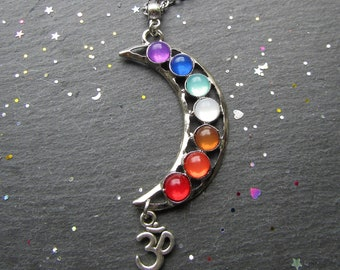 Luna 7 Chakras Necklace, 7 Chakras Necklace, 7 Chakras Jewelry, Yoga Necklace, Om Necklace, Chakra Necklace, Chakra Jewelry, Yoga Jewellery