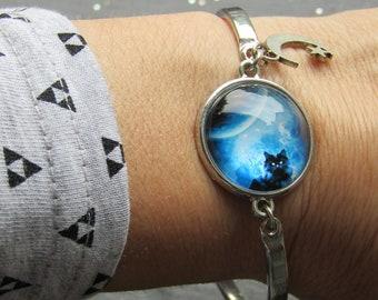 Midnight Black Cat Bracelet, Black Cat Bracelet, Moon Cat Bracelet, Cat Bracelet, Cat Bangle, Gift for Cat Lover, Black Cat Jewelry, Cat