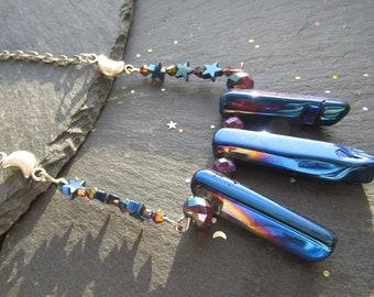 Midnight Blue Titanium Aura Quartz Necklace, Titanium Necklace, Gemstone Necklace, Quartz Necklace, Gemstone Jewelry, Aura Quartz Necklace