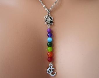 7 Chakras Yoga Necklace with Om Charm , 7 Chakras Necklace, Energy Necklace, Yoga Necklace, Chakra Necklace, Chakra Jewelry, Yoga Jewellery
