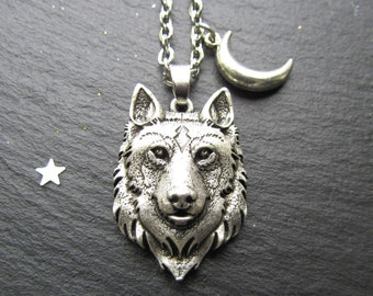 Wolf pendant etsy wolf necklace with a moon wolf necklace wolf jewelry wolf pendant wolf lover men jewelry gift for him unisex necklace unisex jewelry aloadofball Choice Image