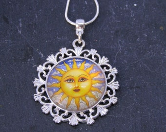 Sun necklace with Sterling Silver Chain, Boho Chic Necklace, Vintage Sun Necklace, Art Glass Cabochon Necklace, Sun necklace